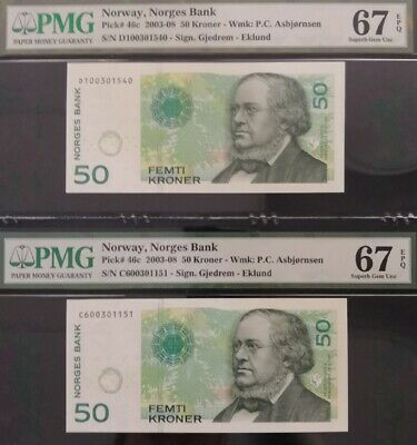 TT PK 46c 2003-08 NORWAY NORGES BANK 50 KRONER PMG 67Q TWO SUPERB GEMS IN A ROW!