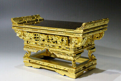 "[Y] Japanese Buddhist Altar Table ""MAEJYOKU"" Three-sided Gold Leaf Mushikui-nuri"