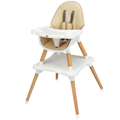 4-in-1 Baby Infant High Convertible Wooden Chair w/5-Point Seat Belt Khaki