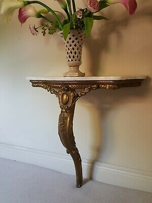 Antique French Gilt Wood Marble Top Console  Hall Table