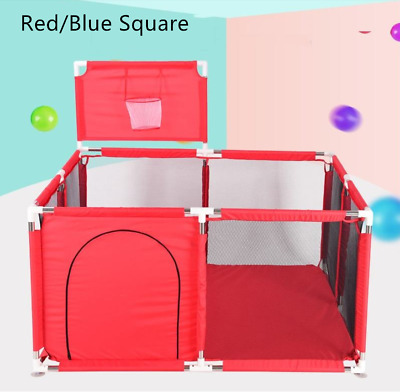 Baby Safety Fence Playpen Playard Ball Play Tent Indoor Outdoor Large Blue/Red