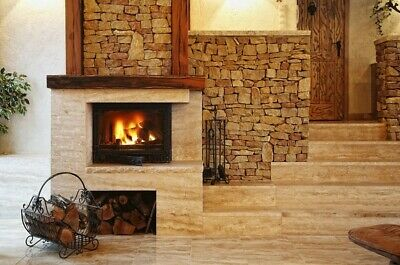 Fireplace Insert Inset Wood Burning Cast Iron Stove Built In 14 Kw
