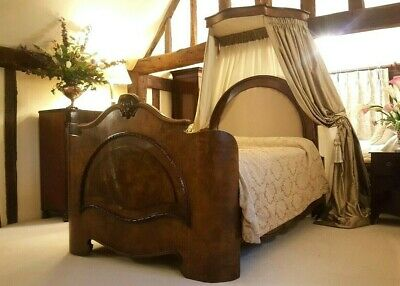 Antique Half Tester Burr Walnut Victorian Luxury Arched Bed