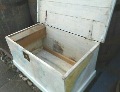 antique Pine chest Victorian blanket box coffer 19th century nautical