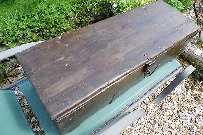 antique trunk chest box wooden coffee table industrial military iron strapped