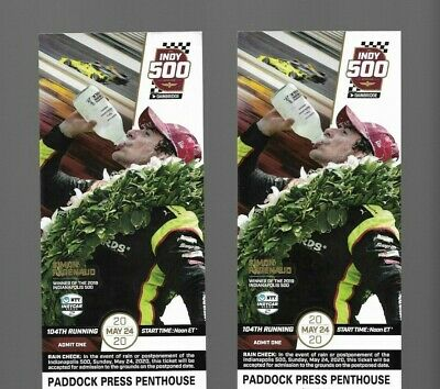 2 Indy 500 Tickets Front Row Side by Side Paddock Press Penthouse Awesome Seats!