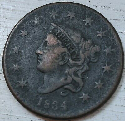 1834 Coronet Head Large Cent VF Details (Corr.) Coin