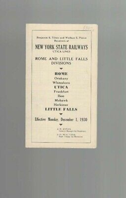 NEW YORK STATE RAILWAYS  - UTICA LINES  1930  Timetable  NYSR
