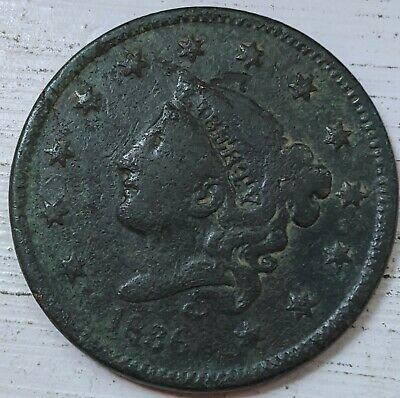 1836 Coronet Head Large Cent XF Details (Corr.) Coin