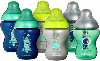 6 Piece Tommee Tippee Closer to Nature Blue Decorated 260 ml Baby Bottles x Six