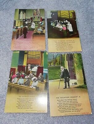 Set Of Four Bamforths Song Postcards 'The Volunteer Organist' used but good