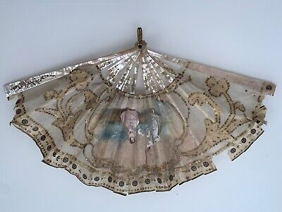 Antique Mother of Pearl Figural Scene  hand painted silk satin FAN
