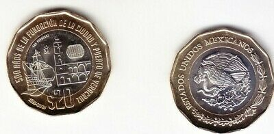 Mexico coin $20 pesos NEW 500th aniv Veracruz unc Just released good cond