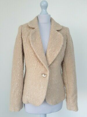 PER UNA M&S Cream Boucle Jacket Blazer Coat Smart Career Occasion Size 10