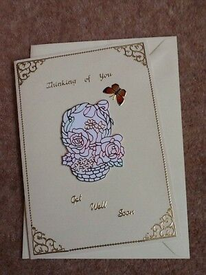 A5 Handmade Thinking of You, Get Well Soon Card & Env Raising Money For Charity