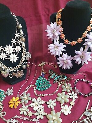 Flower Floral Butterfly peacock themed Jewelry Lot sparkle