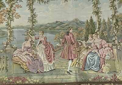 "Tapestry Wall Hanging Aubusson Style French Louis King Scene Large 85"" X 37"""