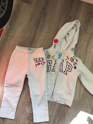 Girls 4 Years GAP Tracksuit Hoodie And Joggers Grey Floral