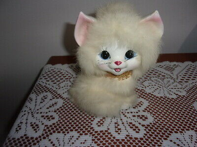 Vintage White ceramic Kitty Figurine With Fur