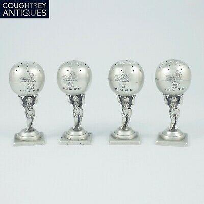 Rare Set Of Four Victorian Sterling Silver Novelty Pepperettes Birmingham 1891