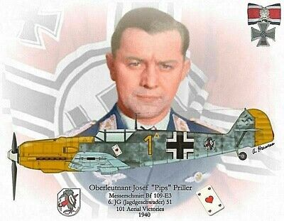 Ww2 Luftwaffe Ace Oberstlt.priller Knights Cros Ol Swds.d Day Normandy War Ds+Sf