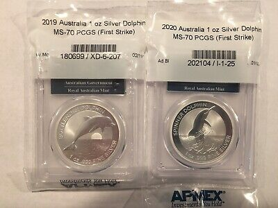 2019 & 2020 MS70 First Strike Australia Bottlenose Dolphin 1 oz Silver Coins