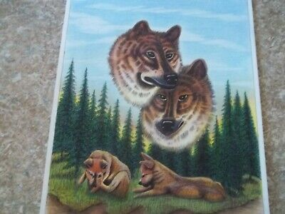 Starving Artist Hand Drawn Picture Of Wolves  Price Reduced