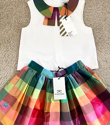 Girl's NO ADDED SUGAR Gloria Crazy Check Top & Skirt, Age 4 Years, BNWT!