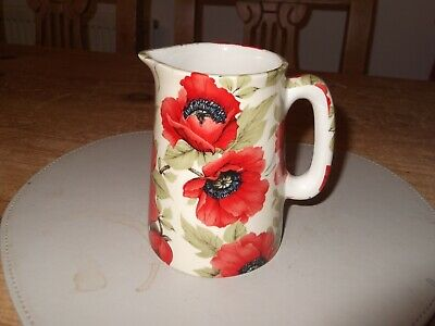 """Lovely Collectable Vintage Jug with Crown England """"Poppy"""" Pattern"""