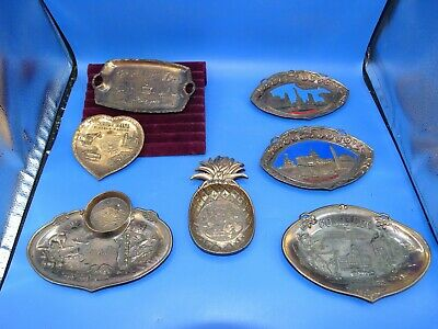 7 Vintage Metal Souvenir Trinket Trays / Dishes States & Places Hawaii Etc.