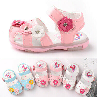 Toddler Infant Kids Baby Girls Cute Flowers LED Luminous Shoes Sneakers Sandals