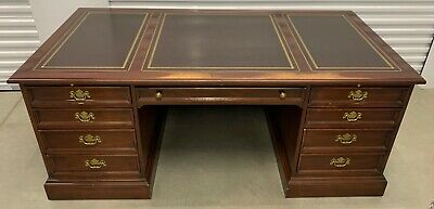 Sligh Traditional Leather Top Executive Desk, matching File Cabinet & Bookcase