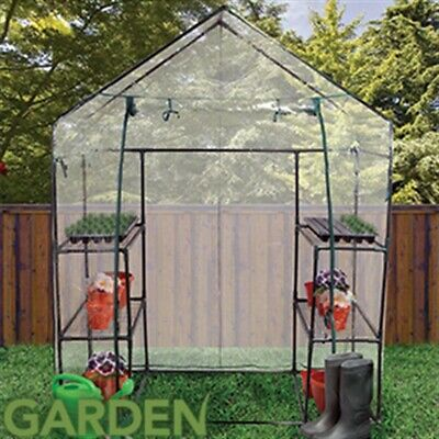 Walk In Greenhouse PVC Plastic Garden Grow Green House with 4 Shelves UK