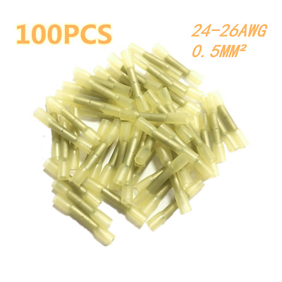 100PCS Yellow 24-26AWG Heat Shrink Butt Crimp Connector Electrical Wire Terminal