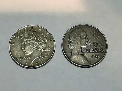 LOT 1924 Peace Dollar and 1935 Caribbean Libertad Peso BOTH 90% Silver 2 Coins!