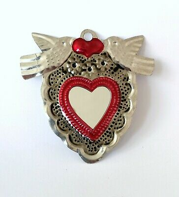 Mexican Mini Tin Heart Milagro Decoration Mirror Natural Tin Antiqued Patina #3