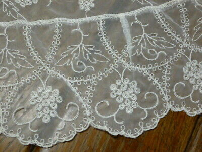 Vintage Fine Organza Sheer Tablecloth Oval  Embroidered Grapes Vine Lace Floral