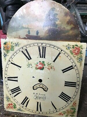 Antique Longcase Long Case Grandfather Clock face R R Snow Ripon Wall Art