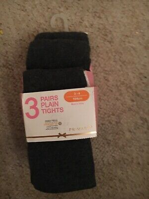 Girls Age 3-4 Grey School Tights From Primark NEW
