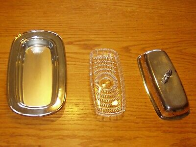 Wm. A. Rogers Vintage Silverplate Butter Dish & Glass Liner
