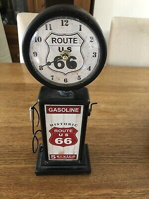 Vintage Style Black Route 66 Table Clock In Working Order.