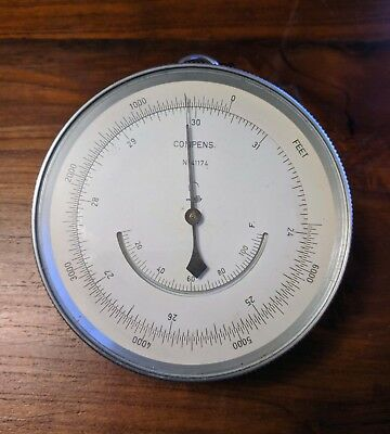 """Vintage Lufft Compens  Altimeter 4"""" in diameter w/Leather Case"""
