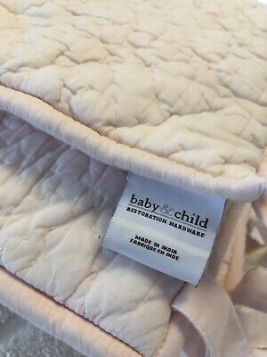 RH Baby&Child~Heirloom Quilted Voile Crib Bumper~Petal Pink