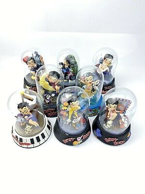 Betty Boop Figurines, Set 8 With Glass Domes