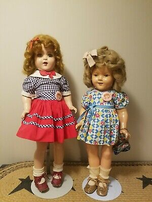 Antique Ideal Shirley Temple Composition Doll Lot Of 2 20 18 Inches