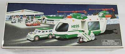 NIB - 2001 Hess Helicopter With Motorcycle And Cruiser