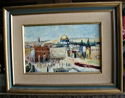 Vintage Wall of Lamentations, Jerusalem,Canvas on Board, Oil Painting