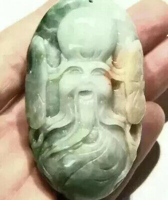 """Jade Carving Pendant Large 3"""" Long 172g Detailed Face Small Drill Hole I19"""