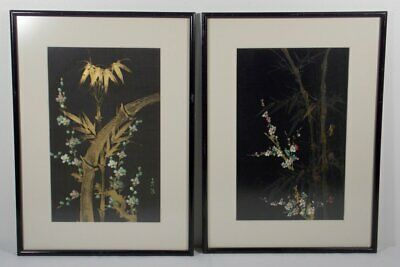 Pair of Japanese Paintings On Silk, Bamboo and Cherry blossoms Signed