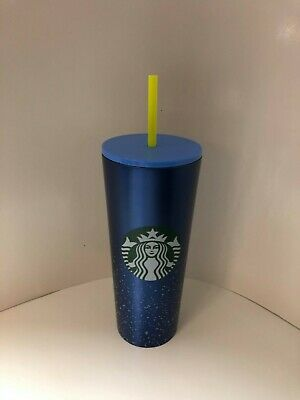 Starbucks Summer 2020 Blue Speckled Stainless Steel Tumbler Venti 24 oz Cold Cup